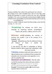 English Worksheets: guesing vocabs from context