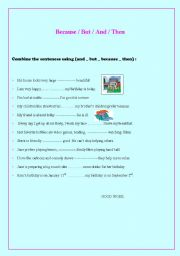 English Worksheet: Linkers (and_but_because_then)