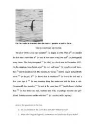 English Worksheet: the Loch Ness Monster