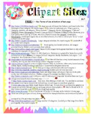 English Worksheet: Clipart Sites Described