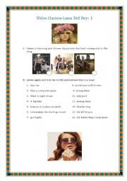 English Worksheet: Video games -Lana del Rey - Valentine�s song- 1