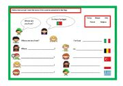 English Worksheet: Where are you from?