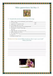 English Worksheet: Video Games- Lana Del Rey-Valentine�s day song-3