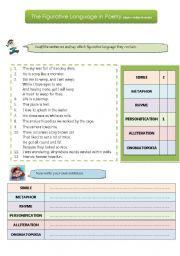 English Worksheet: The figurative language of poetry
