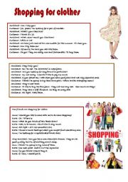 English Worksheet: CONVERSATION: SHOPPING FOR CLOTHES