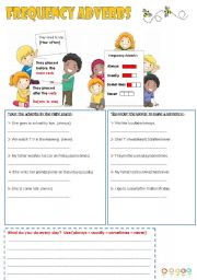 English Worksheet: frequency adverbs