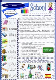 English Worksheets: School (29.01.12)