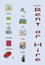 English Worksheets: Rent or Hire