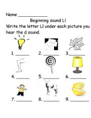 English Worksheet: Beginning sounds Ll