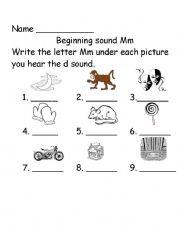 English Worksheet: Beginning sounds Mm