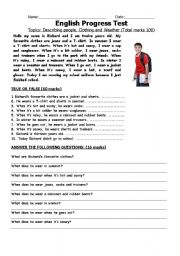 english progress test describing people weather and feelings esl worksheet by carnival73. Black Bedroom Furniture Sets. Home Design Ideas
