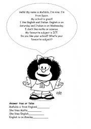 English Worksheet: Mafalda and the school