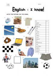 English Worksheets: English I know!