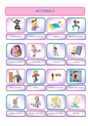English Worksheets: Actions 2 (Pictionary)