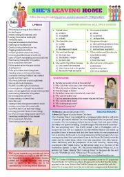 English Worksheets: SHE IS LEAVING HOME by The Beatles
