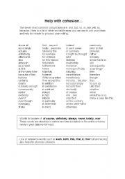 English Worksheets: cohesion