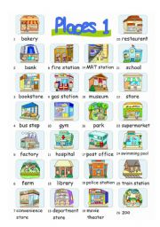 English Worksheets: Pictionary***Places 1