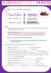 English Worksheet: CAUSATIVE - HAVE