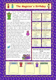 English Worksheets: The Magician�s Birthday (+key)