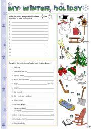 English Worksheets: My winter holiday