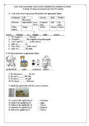 English Worksheet: 5th grade 1st term 1st exam