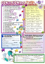 English Worksheets: CONDITIONALS 0&1 B/W & KEY