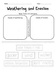 English Worksheets Weathering And Erosion