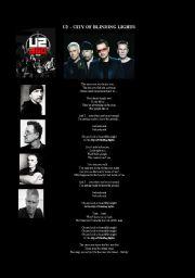 English worksheet: Listening - U2 - City of Blinding Lights - Filling the gaps.