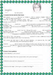 English Worksheets: JONH LENNON