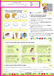 English Worksheet: What´s the Weather like?  -  Listening test