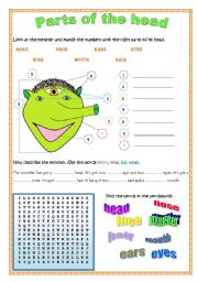 English Worksheets: Parts of the head (editable, B&W version)