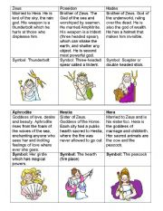 English Worksheet: Greek Gods