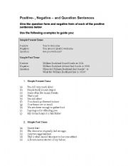 English Worksheets: Positive- , Negative � and Question Sentences