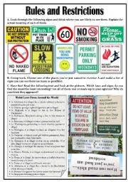 English Worksheets: Rules and Restrictions