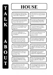 House - 18 conversation cards - upper-intermediate level (editable)