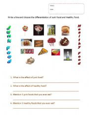 English Worksheet: Healthy food and Junk food
