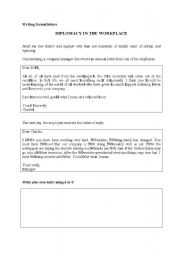 English Worksheet: Diplomacy in the workplace