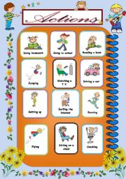 English Worksheets: Action Pictionary1/2