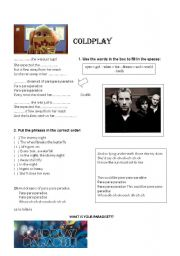 English Worksheet: Music- Paradise /COLDPLAY