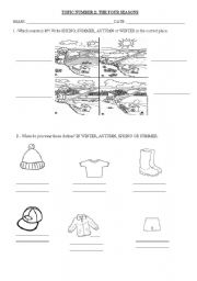 English Worksheet: THE FOUR SEASONS, WEATHER AND CLOTHES