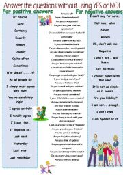 English Worksheets: Answer without yes or no using. PRACTICE EXPRESSIONS FOR SPEAKING.