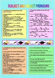 English Worksheet: Subject & object pronouns (+ key)