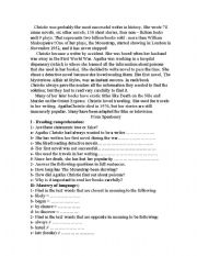 English Worksheet: agatha christie ,the most successful writer