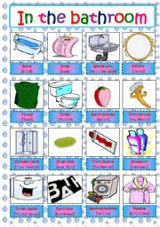 Charmant English Worksheet: IN THE BATHROOM   Pictionary