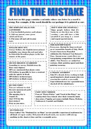 English Worksheets: FIND THE MISTAKE