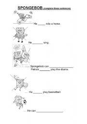 English Worksheets: can_ spongebob