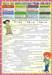 English Worksheets: USING THE RIGHT AUXILIARY VERB-KEY INCLUDED