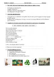 English Worksheet: save the earth 9th form Tunisian Pupils
