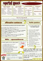English Worksheet: reported speech (01.02.12)