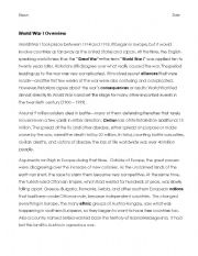 English Worksheets: World War I Overview